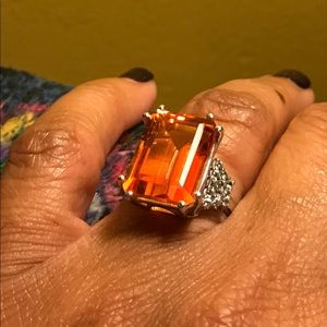 Beautiful Large Square-Cut Citrine & Gemstone Ring
